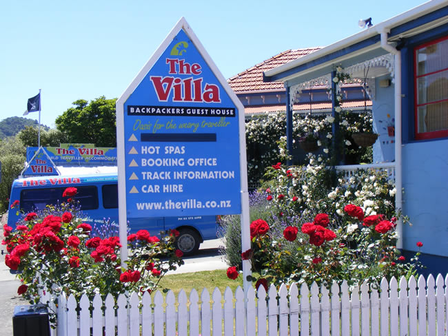 Guest House Signage At The Villa Backpackers Lodge In Picton Marlborough NZ