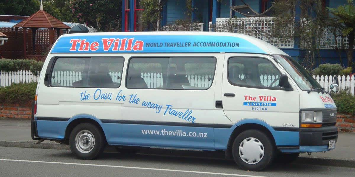 Shuttle Van Used By The Villa Backpackers Lodge In Picton Marlborough NZ
